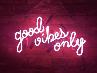 """14""""x9""""Good Vibes Only Neon Sign Light Party Wall Decor Visual Artwork Handcraft"""