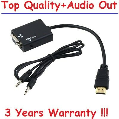 HDMI To VGA Female 1080P Video Converter Adapter Cable For TV PC With Audio Out