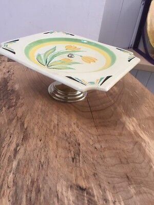 Antique Carlton Ware Cake Stand With Silver Plate Pedestal