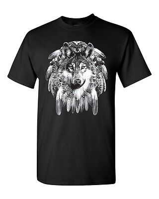 Native American Dream Catcher Wolf Indian Spirit Feathers Pride T-Shirt (9003)