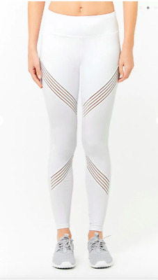 2003908d783b98 NWT WHITE Forever 21 Women's Active Mesh Striped Ankle Leggings Size Medium  M