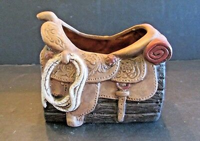 Vtg Napscoware Western Saddle Planter Ranch Cowboy