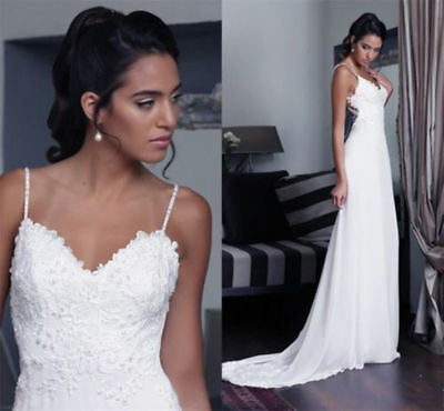 Sexy Applique Bridal Gown Beach Wedding Dress Spaghetti Strap Custom Size