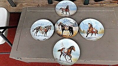 War Ponies of the Plains Decorative Plate set of 5 George Perillo gold trimmed