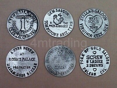 6 Brothel Tokens (Haps Saloon, Rosie's Palace, Gem Palace,stellas, Uncle, Poke