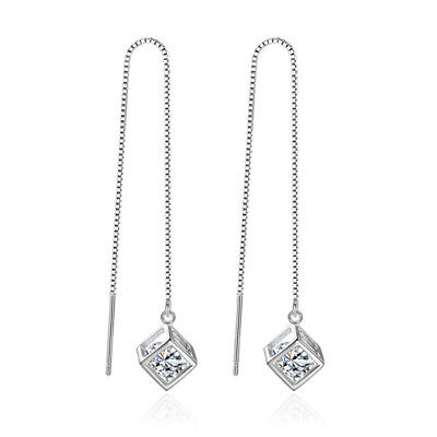 925 Sterling Silver Crystal Cube Drop Earrings Ear Line For Women Party Jewelry