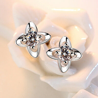 925 Sterling Silver Austria Crystal Luck Clover For Women Girl Fashion Jewelry