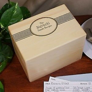 Personalized Family Name Wood Recipe Box  Engraved Family Recipe Cards Holder