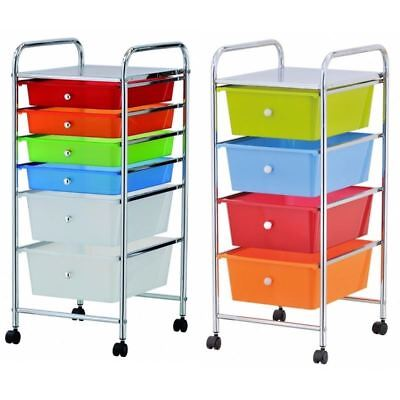 Home Office Chrome 4 / 6 Drawer Storage Cart Trolley With Wheels Portable Rack