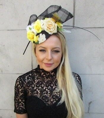 Black Cream Lemon Yellow Floral Rose Flower Feather Hat Fascinator Races 5781