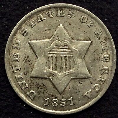 1851-O 3CS Three Cent Silver Piece Fish Scale Lustrous AU Only O-Mint 3¢ Silver!