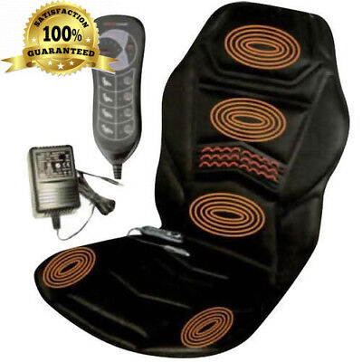 Heated Back Seat Padded Massage Cushion For Chair Home or Car Cover