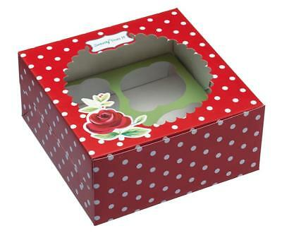 Sweetly Does It Red Dotty Floral Cupcake Boxes - Pack of 4