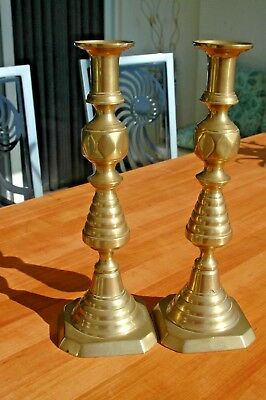 """Antique Solid Brass Beehive Shape Push Up English Candlesticks 12"""""""