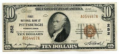 1929 $10 National Currency Note - 252 Pittsburgh First Bank Pennsylvania - AR925
