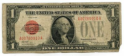 1928 $1 United States Note - Red Seal Currency - One Dollar - AR920