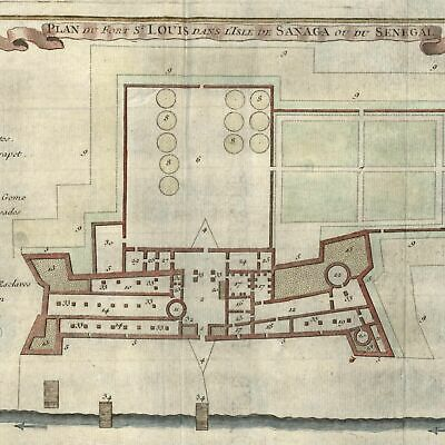 West Africa Senegal Fort St. Louis c.1746 Bellin hand color detailed old map