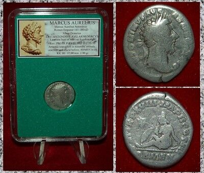 Roman Empire Coin MARCUS AURELIUS Captured Armenia On Reverse Silver Denarius