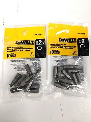 New 20 DEWALT #2 Square Recess Screwdriver Power Bits -DW2202B10- Free Shipping
