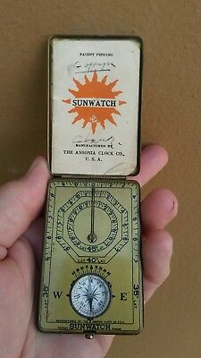Antique 1921 Usa Ansonia Sunwatch Pocket Folding Sundial Compass With Booklet