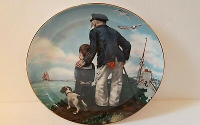 Norman Rockwell plate looking out to sea 22-karat gold banded