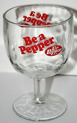 Vintage Retro Thumb Print Dr Pepper Soda Goblet Glass Stemmed Cup Be A Pepper