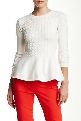 ae6b8d40a6a56 NEW TED BAKER Mereda Cable Knit Peplum Sweater in Cream - Size 0 US ...