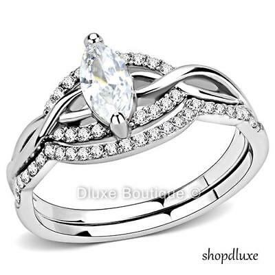 Women's Marquise Cut Cz Stainless Steel Engagement & Wedding Ring Set Size 5-10