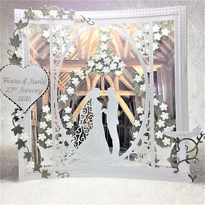 Handmade Wedding Card Personalised 3D Beautiful Special Shadow Box Rustic Barn