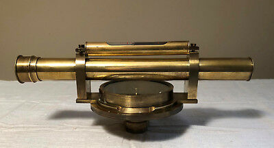 Antique / Vintage Early Brass Surveying Transit Theodolite Compass with Scope