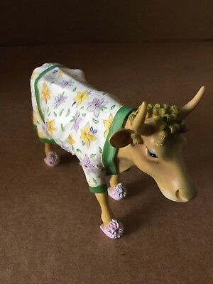 "RARE! 2000 COW PARADE ""Early Show"" Curlers Slippers Cow Figurine! FREE SHIPPING!"
