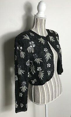 Vintage Silk Beaded Sequined Floral Black Evening Jacket Bolero Size S/M/L