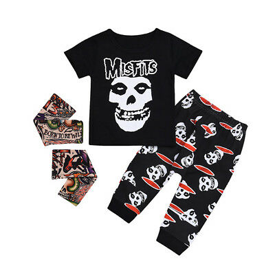 AU Stock 3Pcs Kids Baby Boys Girls Skull Tops T-shirt Pants Outfits Set Clothes