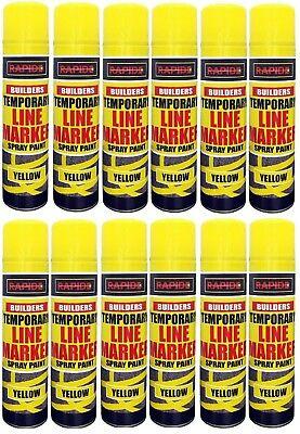 12x Yellow Temp Line Marking Spray 250ml Fast Drying Paint Road Marker Construct