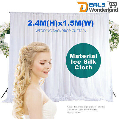 2.4M White Wedding Backdrop Curtain Drapes Party Decor Background Studio Draping