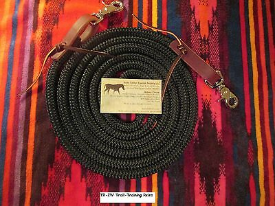 10' BLACK Trail Training Yacht Rope Loop Reins Leathers Snaps by Rose Lodge USA
