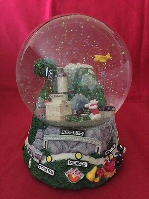 Rare California Attractions Musical Snow Globe By Three Jays Imports, Excellent