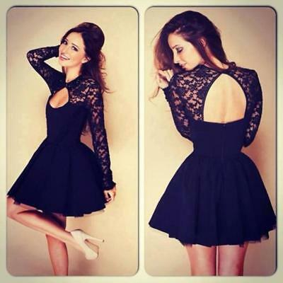 Sexy Lace Women Floral Long Sleeve Backless Evening Party Fashion Mini Dress B