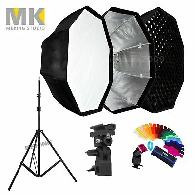 80cm Octagon Honeycomb Grid Umbrella Softbox +Lighting stand for Flash with Gels