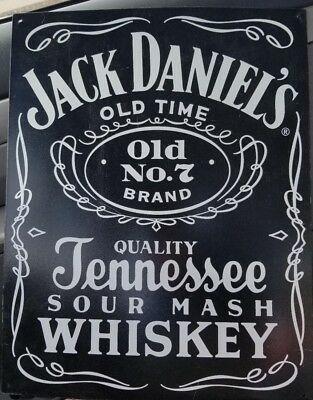 Jack Daniels No 7 Tennessee Whiskey Metal Sign Vintage. Black and white 12.5x16