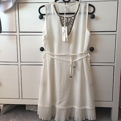 White Beach Summer Holiday Dress Cover Up Tie Up One Size Xs S M 6 8 10 New Tags