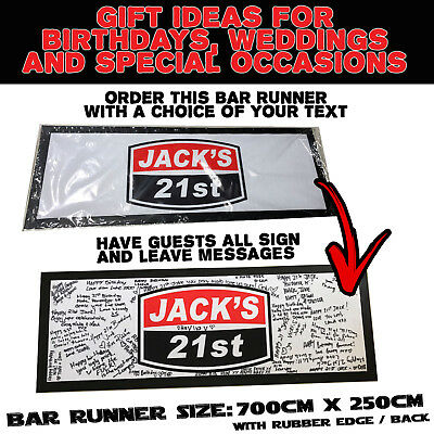 Professional Personalised Bar Runner Gifts Birthdays Weddings Beer Occasions