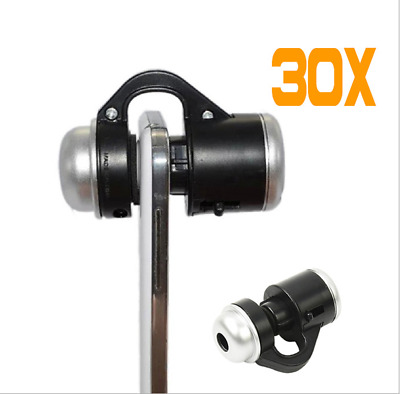 30X Optical Zoom Mobile Phone Microscope Clip Lens For iPhone iPad Samsung New
