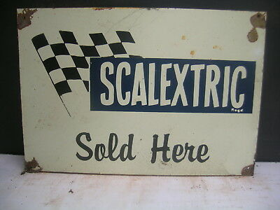 Scalextric Slot Cars Rustic Tin Sign - For The Slot Car Room Freepost Australia