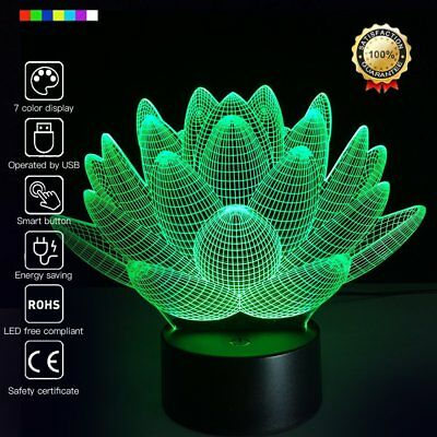 Remote Control LED Night Light 7 Colors Desk Table 3D illusion Lamp for Bedroom