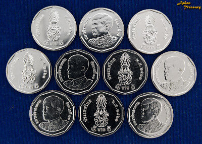 2018 Thailand 5 Baht Y#new New King Rama X Circulation Lot 10 Coin Unc Wholesale