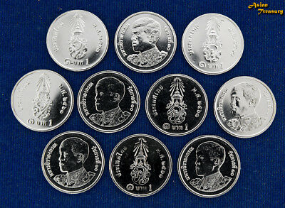 2018 Thailand 1 Baht Y#new New King Rama X Circulation Lot Of 10 Coin Wholesale