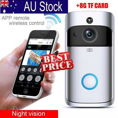 AU WiFi Wireless Video Doorbell Smart Door Bell Two-Way Talk  8GB TF Card