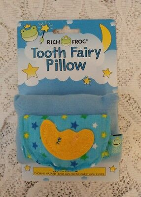 Rich Frog Moon Tooth Fairy Pillow and Tooth Keepsake, Blue Pocket for Tooth New