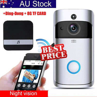 WiFi Wireless Video Doorbell Smart Door Bell ,Two-Way Talk ,8GB Memory ,Dingdong